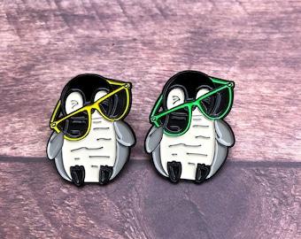 Penguin with Glasses Enamel Pin | Badge