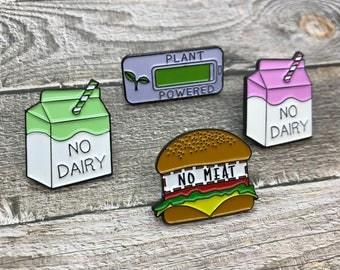 Set of 3 Vegan, Vegetarian Enamel Pins | No Meat, No Dairy, Plant Powered |Stocking Filler Gift | Lapel Pin, Badge |