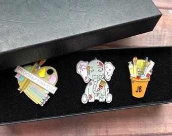 GIFT SET   Set of Three   Customisable Art Pot and Elephant Enamel Pin   Gift   Lapel Pin, Badge  