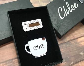 GIFT SET   Set of Two   Coffee Mug and Coffee Powered Enamel Pin   Stocking Filler Gift   Lapel Pin, Badge  