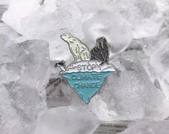 Stop Climate Change Enamel Pin / Brooch   Environment Marine, Sea Life, Global Warming   Gift   Lapel Pin, Badge  