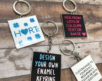 Personalised Square Enamel Keyring   Keychain   Bespoke, Resined