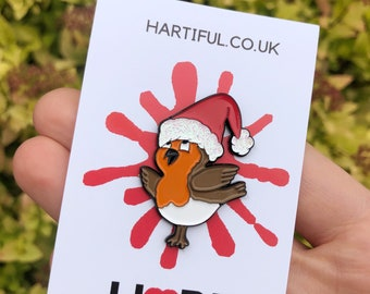 Christmas Robin Santa Enamel Pin    Gift   Lapel Pin, Badge  
