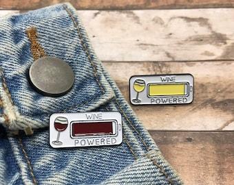 Wine Powered Enamel Pin   Stocking Filler Gift   Lapel Pin, Badge  