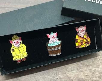 GIFT SET   Set of Three   Baby Pig Enamel Pins   Stocking Filler Gift   Lapel Pin, Badge  