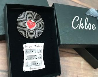 GIFT SET   Set of Two   Music Sheet and Vinyl Record Enamel Pin   Stocking Filler Gift   Lapel Pin, Badge  