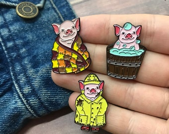 Baby Pig Enamel Pin Set of Three | Raincoat, Bath, Blanket |
