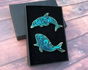 GIFT SET Personalise A Box   Set of Two   Rainbow Metal Whale and Dolphin Enamel Pins   Lapel Pin, Badge  