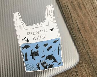 Eco-Friendly Plastic Kills Sticker   Plastic Pollution, Sea Life, Environment   Laptop Sticker