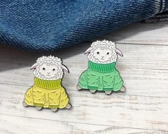 Baby Sheep in Sweater Jumper Enamel Pin   Lapel Pin, Badge  