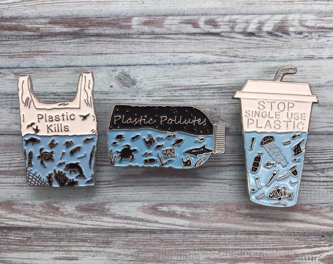 Featured listing image: Charity Pin   Set of 3 Pins   Plastic Pollutes + Plastic Kills Enamel Pin   Environment Marine, Sea Life   Stocking Filler Gift   Lapel Pin