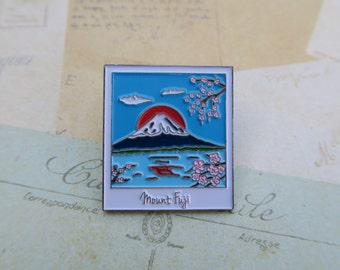 Photograph Enamel Pin | Japan, Mount Fuji Travel | Wanderlust Lapel Pin|  Gift | Lapel Pin, Badge |Picture Frame