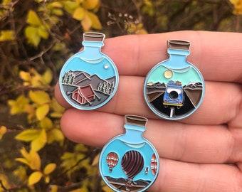 Set of 3 Wanderlust Potion Enamel Pins | Travel, Wanderlust |  Gift | Lapel Pin, Badge |