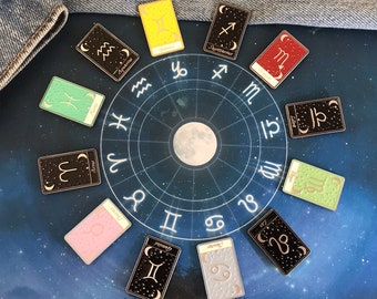 Set of Two | Tarot Horoscope Cards | Colours And Black and White | Star Sign, Moon, Stars | Stocking Filler Gift | Lapel Pin, Badge |