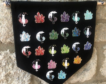 Birthstone Celestial Two Pins Cat Birthstone And Crystal Enamel Pin Gift Set   Lapel Pin, Badge  