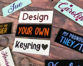 Personalised Rectangle Enamel Keyring   Keychain   Bespoke