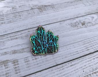 Rainbow Metal Black Glitter Crystal Enamel Pin | Multichrome |