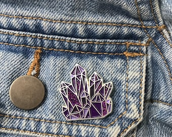 Amethyst Crystal Enamel Pin   Science Lapel Pin, Badge  