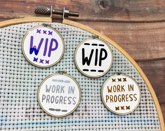 Work in Progress WIP Cross Stitch / Embroidery Hoop Needle Minder