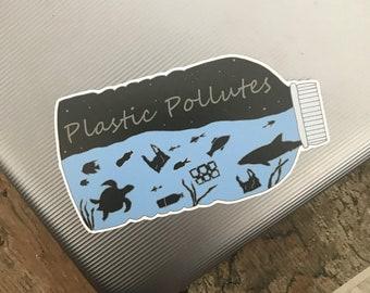 Eco-Friendly Plastic Pollutes Sticker   Plastic Pollution, Sea Life, Environment   Laptop Sticker