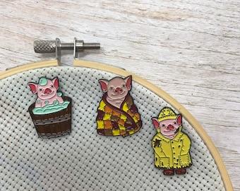 Baby Pig Enamel Needle Minder |  Gift |