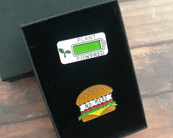 GIFT SET Personalise A Box   Set of Two   Plant Powered, No Meat Enamel Pins   Vegan Stocking Filler Gift   Lapel Pin, Badge  