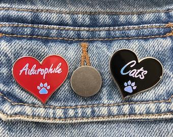 Ailurophile, Cat Lover Enamel Pin | Cat Paw | Pin Badge