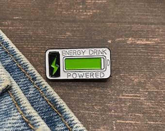 Energy Drink Powered Enamel Pin   Stocking Filler Gift   Lapel Pin, Badge  