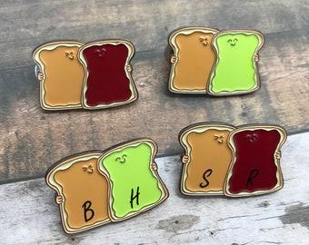 Toast / Bread Friends Customisable Enamel Pin   Peanut Butter, Avocado, Jam / Jelly Personalised Pin Badge