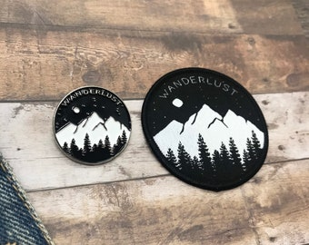Set of Wanderlust Enamel Pin and Patch - Mountains, Trees and Moon - Iron on, Sew On. Brooch, Badge| Stocking Filler Gift