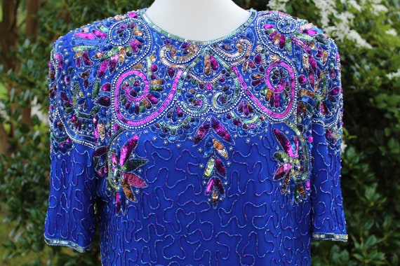Vintage Blue Sequins Dress | 1980s Sequins Dress |