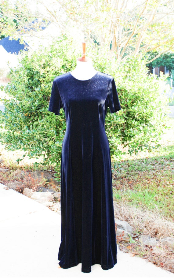 Navy Blue Maxi Dress | Long Navy Blue Velvet Dress