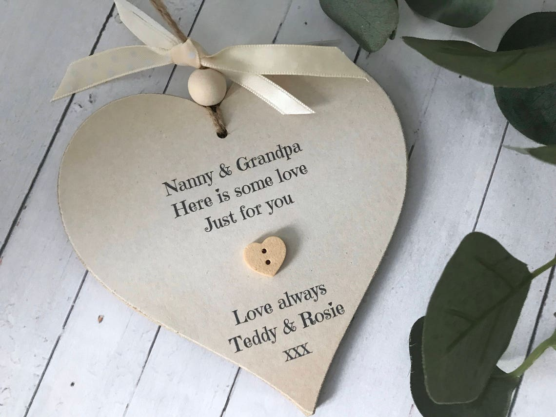 Personalised grandparents heart sign