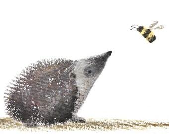 Hedgehog and Bee (Original Illustration)