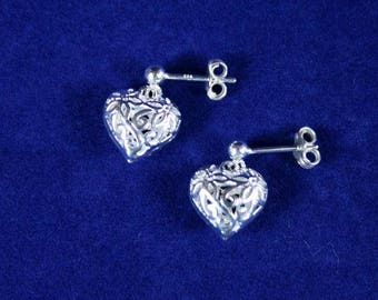 Bright Silver Plated Brass Filigree Puff Heart Post(Stud) Earrings in Floral Motif with 925 Sterling Silver Post/Stud Ear Wires & Ball Ends