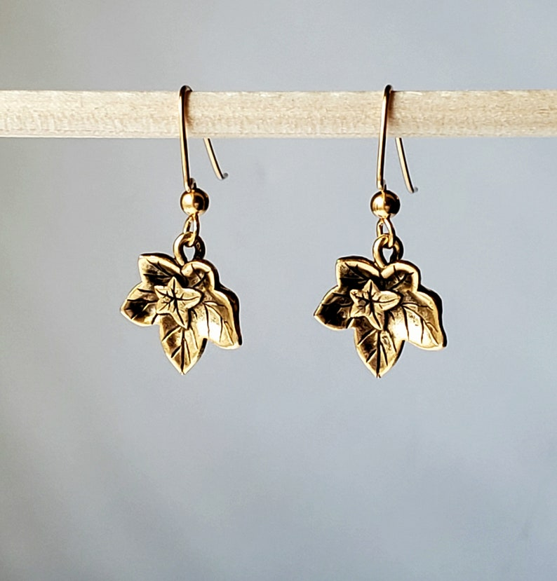 Antique Gold Plated Ivy Leaf Earrings in Gorgeous Sculpted Leaves with 14K Gold Filled Angular Hook Ear Wires with 3mm Balls Ends
