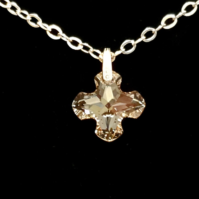 fff6f77f8bd71 Gold Greek Cross Pendant in Swarovski Crystal Golden Shadow, 14K Gold  Filled Bail, 14K Gold Plated Cable Chain