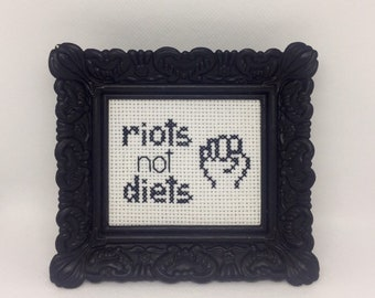 Riots Not Diets Finished and Framed Cross Stitch - Funny Gift Idea - Eating Disorder Recovery Gift