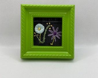 Denim Pocket Flower Embroidery Art