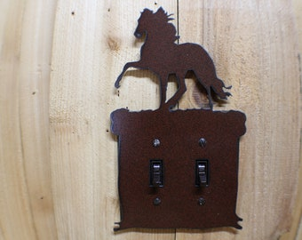 Reining Horse Cowboy Horse Light Switch Double Plate Cover