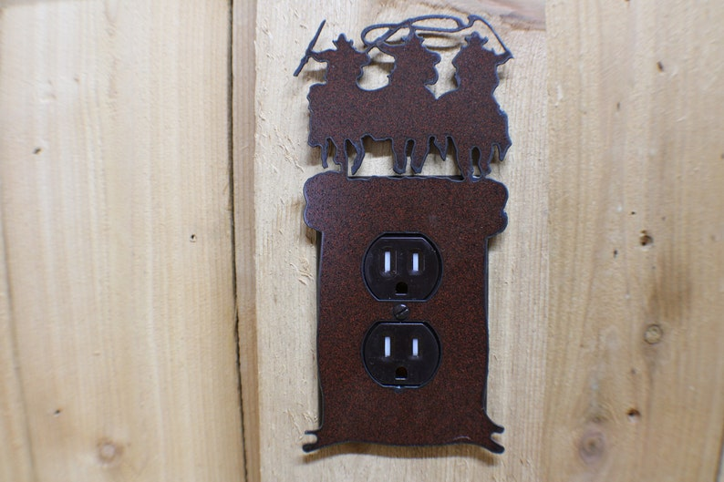 Rustic Finish with 3-D look Cabin Lodge,Mountains,Farm,Wildlife Switchplate Possy Single GFI or Rectangular Switch Plug