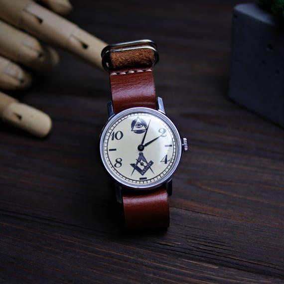 Mens watch, vintage watch, soviet watch, MASONIC watch, mechanical watch,  Ussr watch, watches vintage, military watch, montre homme, Pobeda
