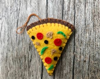 Deluxe pizza slice ornament