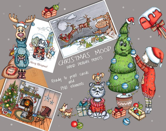 Digital Christmas Cards.Digital Christmas Cards Christmas Prints Deer New Year Cards Panda Print Merry Christmas Gifts Christmas Tree Illustration