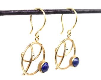 Orbits (version2 mini in bronze) - Hoop earrings with planets - asteroids - lapis lazuli, lava stone art.308