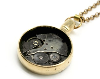 Brass pendant with watch gear - made from an ancient wardrobe key #218