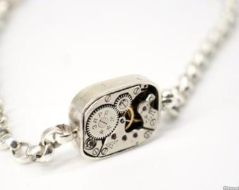 bracelet with clock art.267 Bracelet with rectangular clock mechanism silver chain