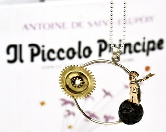 The Little Prince - Silver and Bronze Necklace - Small Prince's Circle Pendant cod.226
