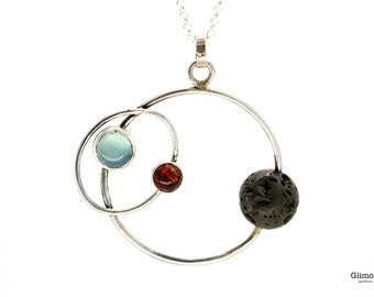 Orbits - Necklace with planets - asteroids - Circle pendant, amber and chalcedony, lava stone #304
