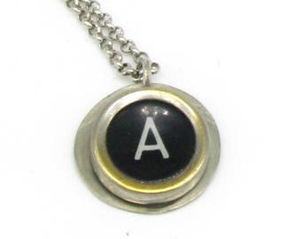 Necklace with Royal 1930s typewriter key-pendant letter A (art. 44)